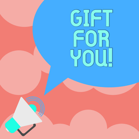 Writing note showing Gift For You. Business photo showcasing To receive a present surprise special occasion appreciation Megaphone with Sound Volume Icon and Blank Color Speech Bubble photo Stock Photo