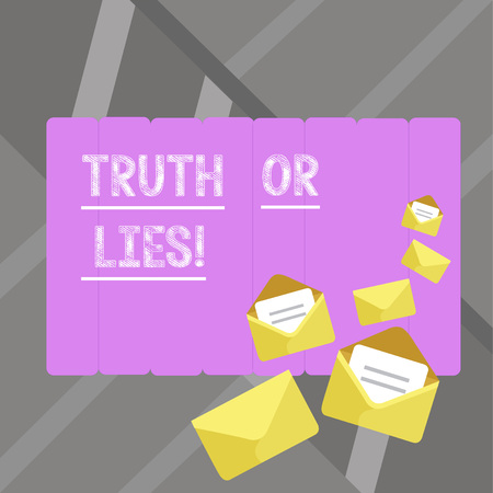 Writing note showingTruth Or Lies. Business photo showcasing Decide between a fact or telling a lie Doubt confusion Stock Photo