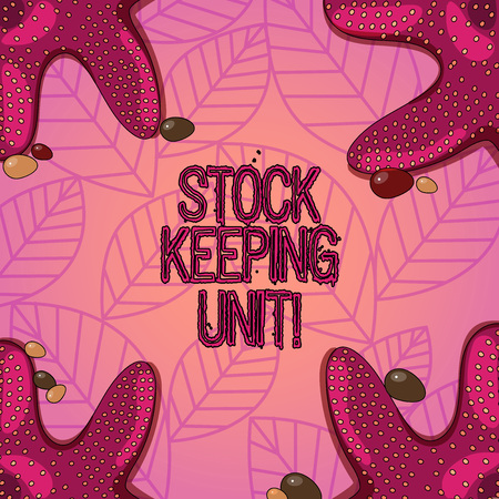 Text sign showing Stock Keeping Unit. Conceptual photo product and service identification code store or product Starfish photo on Four Corners with Colorful Pebbles for Poster Ads Cards Reklamní fotografie