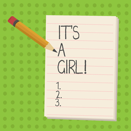 Handwriting text It S Is A Girl. Concept meaning Expecting a baby cute pastel colors a lot of pink Stockfoto