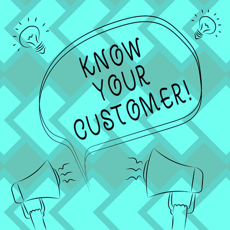 Text sign showing Know Your Customer. Conceptual photo verifying identity clients and assessing potential risks Freehand Outline Sketch of Blank Speech Bubble Megaphone Sound Idea Icon