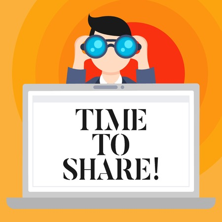 Conceptual hand writing showing Time To Share. Business photo text Communicate with your friends and family spread the word