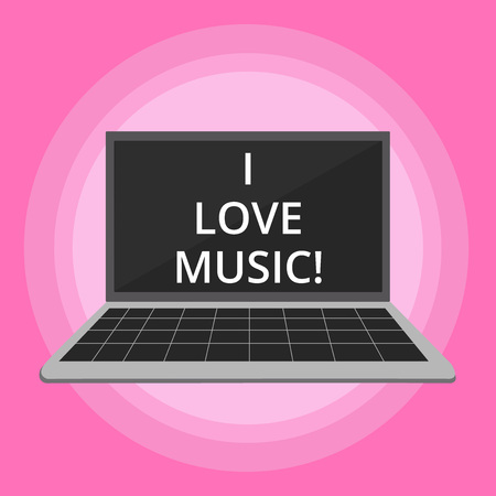 Word writing text I Love Music. Business concept for Having affection for good sounds lyric singers musicians Imagens