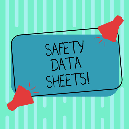 Word writing text Safety Data Sheets. Business concept for document lists information relating occupational safety Two Megaphone with Sound icon on Blank Color Outlined Rectangular Shape