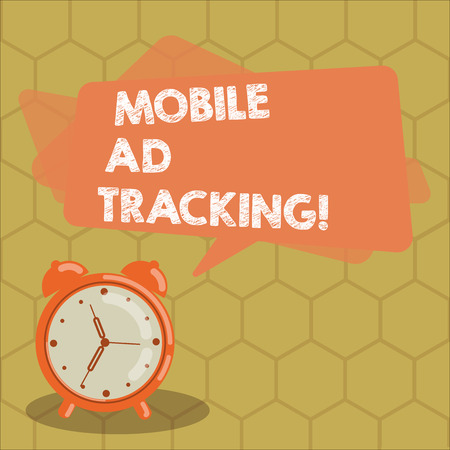 Conceptual hand writing showing Mobile Ad Tracking. Business photo text monitor brand perforanalysisce including advertising awareness Rectangular Speech Bubble Overlay and Analog Alarm Clock