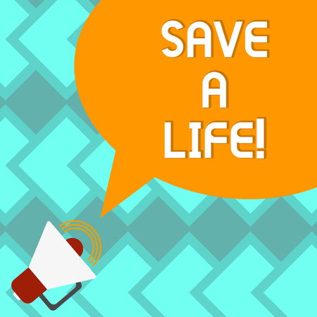 Text sign showing Save A Life. Conceptual photo Help assistance saving someone from a medical problem or injury Megaphone with Sound Volume Icon and Blank Color Speech Bubble photo