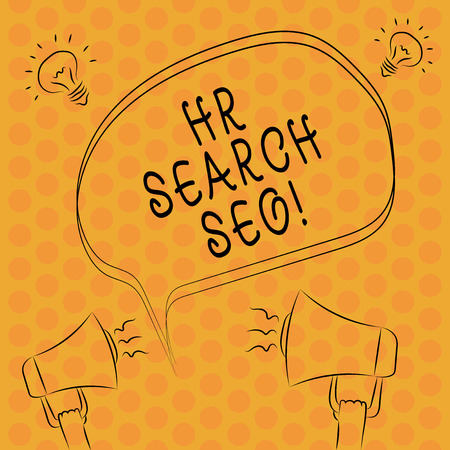 Writing note showingHr Search Ceo. Business photo showcasing Huanalysis resources seeking for new Chief Executive Officer Freehand Outline Sketch of Speech Bubble Megaphone Idea Icon Stockfoto