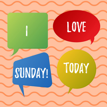 Conceptual hand writing showing I Love Sunday. Business photo text To have affection for the weekend happy excited relax