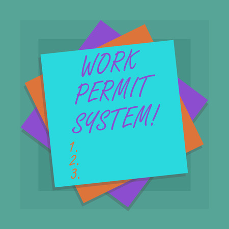 Conceptual hand writing showing Work Permit System. Business photo showcasing formal written systems used control certain types work Multiple Layer of Sheets Color Paper Cardboard with Shadow Archivio Fotografico