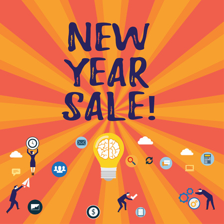 Word writing text New Year Sale. Business concept for Final holiday season discounts price reductions Offers