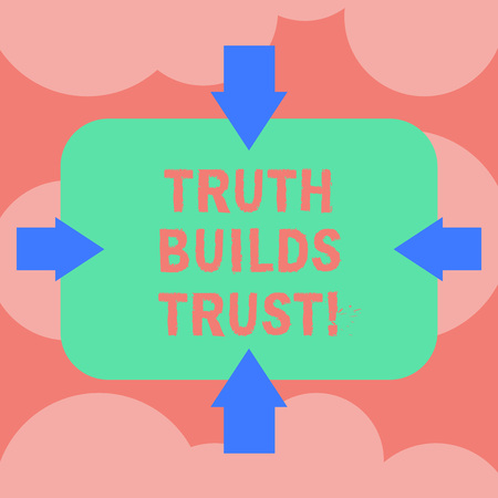 Writing note showing Truth Builds Trust. Business photo showcasing you think they are reliable and have confidence in them Arrows on Four Sides of Blank Rectangular Shape Pointing Inward photo