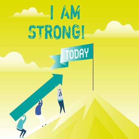 Writing note showing I Am Strong. Business photo showcasing Have great strength being healthy powerful achieving everything 写真素材