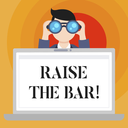 Conceptual hand writing showing Raise The Bar. Business photo text Set higher standards challenges seeking for excellence Stock fotó