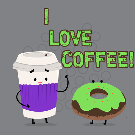 Conceptual hand writing showing I Love Coffee. Business photo text Loving affection for hot beverages with caffeine Addiction Фото со стока