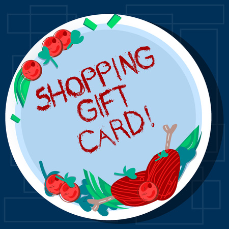 Writing note showing Shopping Gift Card. Business photo showcasing piece of paper that you buy at shop and give to someone Hand Drawn Lamb Chops Herb Spice Cherry Tomatoes on Blank Color Plate