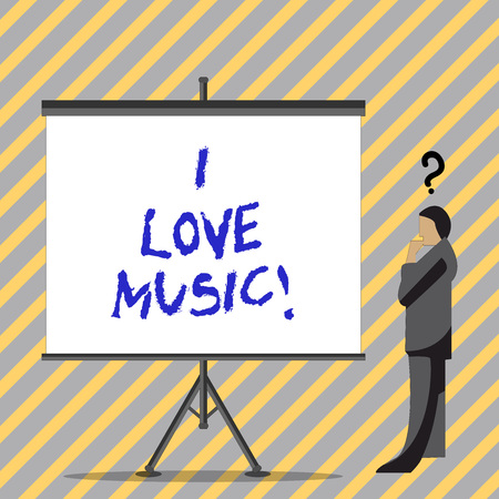 Conceptual hand writing showing I Love Music. Business photo text Having affection for good sounds lyric singers musicians Imagens