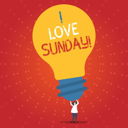 Conceptual hand writing showing I Love Sunday. Business photo showcasing To have affection for the weekend happy excited relax
