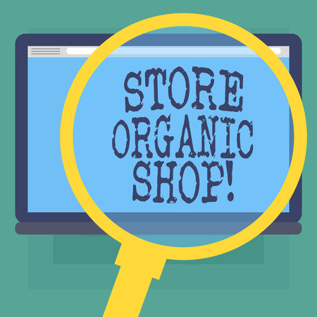 Conceptual hand writing showing Store Organic Shop. Business photo text type of grocery store that primarily sells health foods Magnifying Glass Enlarging Tablet Color Screen text Space Archivio Fotografico