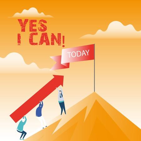 Text sign showing Yes I Can. Conceptual photo Motivation to do something have the enough strength to keep going Imagens