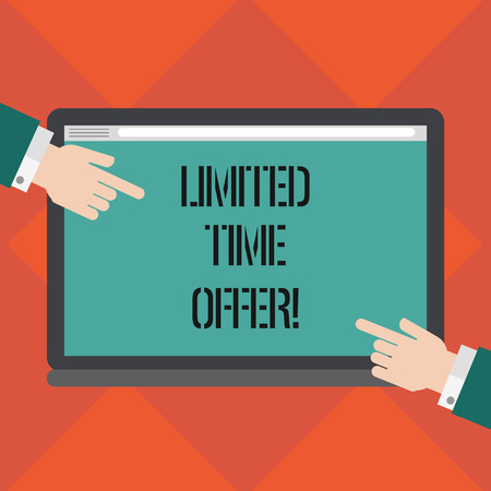 Handwriting text writing Limited Time Offer. Concept meaning special item available for clearly defined short period Hu analysis Hands from Both Sides Pointing on a Blank Color Tablet Screen Фото со стока