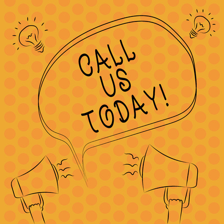 Writing note showingCall Us Today. Business photo showcasing Make a telephone calling to ask for advice or support Freehand Outline Sketch of Speech Bubble Megaphone Idea Icon 스톡 콘텐츠
