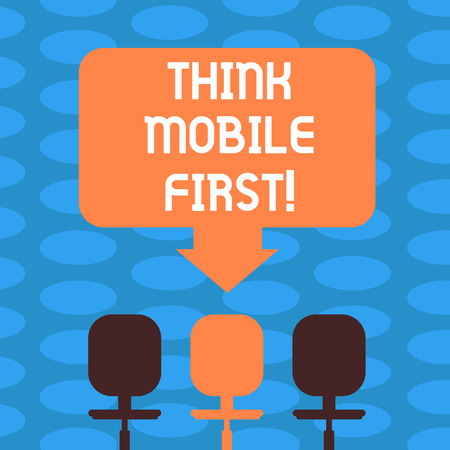 Word writing text Think Mobile First. Business concept for designing online experience for phones before web Blank Space Color Arrow Pointing to One of the Three Swivel Chairs photo
