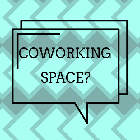 Text sign showing Coworking Spacequestion. Conceptual photo Business services providing shared offices to work Rectangular Outline Transparent Comic Speech Bubble photo Blank Space Reklamní fotografie