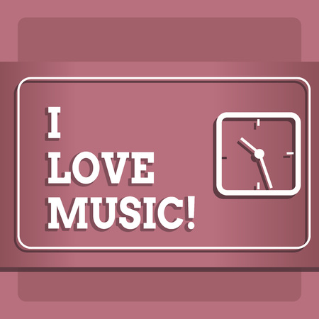 Conceptual hand writing showing I Love Music. Business photo showcasing Having affection for good sounds lyric singers musicians