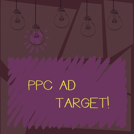 Writing note showingPpc Ad Target. Business photo showcasing Pay per click advertising marketing strategies online campaign