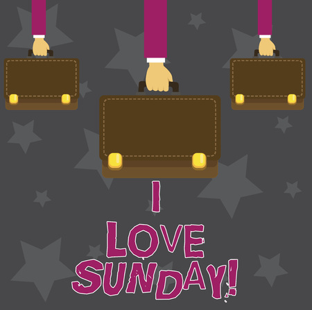 Handwriting text I Love Sunday. Concept meaning To have affection for the weekend happy excited relax