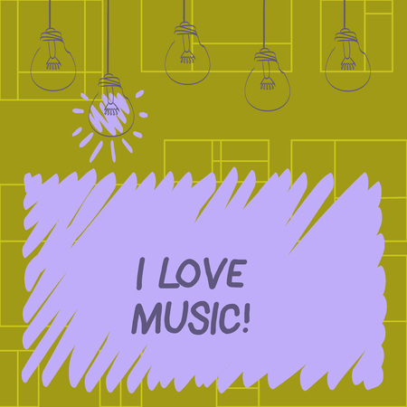 Writing note showing I Love Music. Business photo showcasing Having affection for good sounds lyric singers musicians