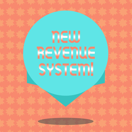 Writing note showing New Revenue System. Business photo showcasing income business got from its activities usually sales Blank Color Circle Floating photo with Shadow and Design at the Edge