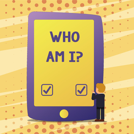 Handwriting text Who Am I. Concept meaning Introduce Identify yourself demonstratingality likes dislikes profile