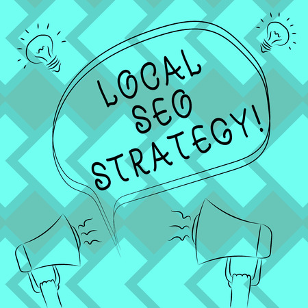 Text sign showing Local Seo Strategy. Conceptual photo incredibly effective way to market your near business Freehand Outline Sketch of Blank Speech Bubble Megaphone Sound Idea Icon 版權商用圖片