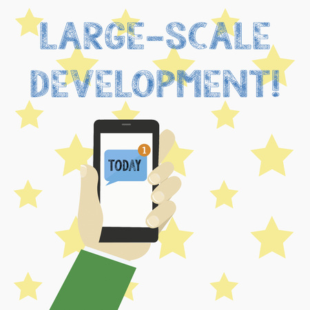 Text sign showing Large Scale Development. Conceptual photo Develop on an extensive basis grow up a lot