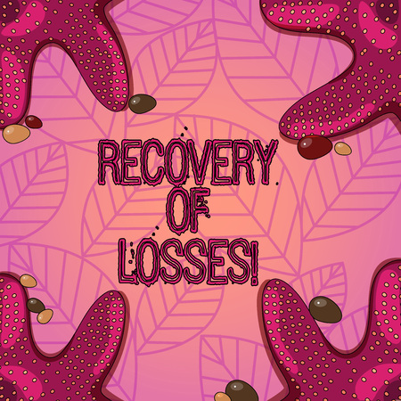 Text sign showing Recovery Of Losses. Conceptual photo to get better after being ill regain or make up for Starfish photo on Four Corners with Colorful Pebbles for Poster Ads Cards