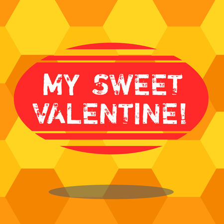 Handwriting text writing My Sweet Valentine. Concept meaning day to celebrate couples in roanalysistically involved Blank Color Oval Shape with Horizontal Stripe Floating and Shadow photo