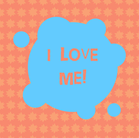 Writing note showing I Love Me. Business photo showcasing To have affection good feelings for oneself selfacceptance Blank Deformed Color Round Shape with Small Circles Abstract photo