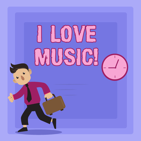 Handwriting text writing I Love Music. Concept meaning Having affection for good sounds lyric singers musicians