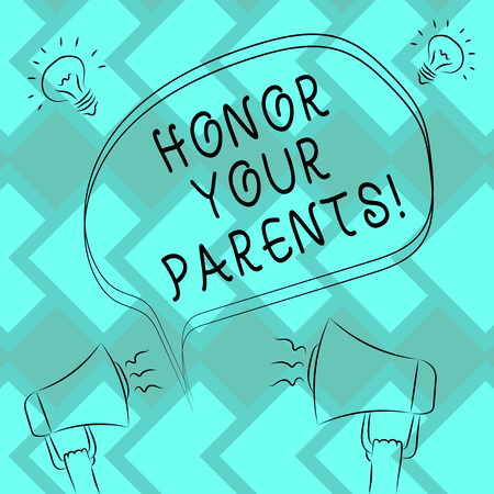 Text sign showing Honor Your Parents. Conceptual photo high respect great esteem for your parents elderly Freehand Outline Sketch of Blank Speech Bubble Megaphone Sound Idea Icon 版權商用圖片
