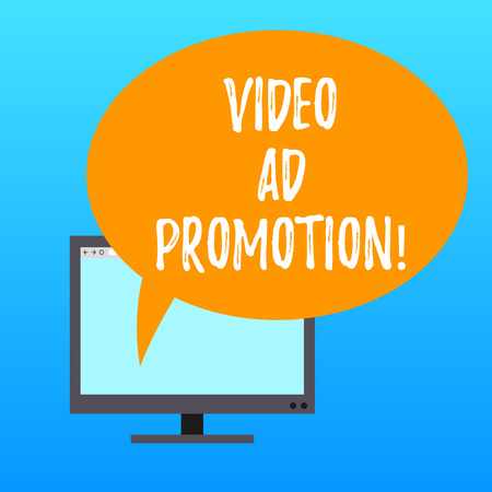 Handwriting text writing Video Ad Promotion. Concept meaning help drive more views and subscribers to your channel Mounted Computer Monitor Blank Screen with Oval Color Speech Bubble