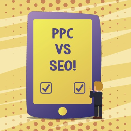 Handwriting text Ppc Vs Seo. Concept meaning Pay per click against Search Engine Optimization strategies