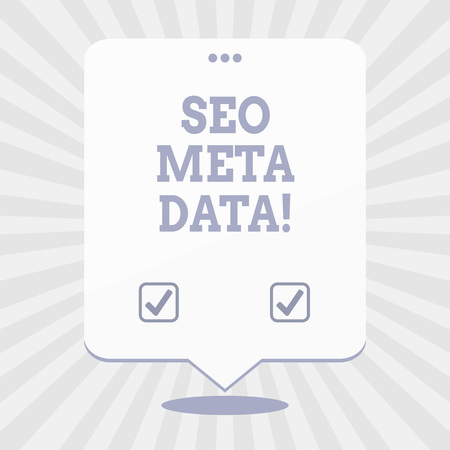 Word writing text Seo Meta Data. Business concept for Search Engine Optimization Online marketing strategy
