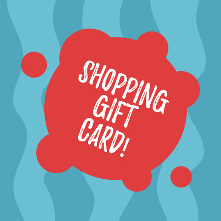 Conceptual hand writing showing Shopping Gift Card. Business photo text piece of paper that you buy at shop and give to someone Blank Deformed Color Round Shape with Small Circles Imagens - 117875160