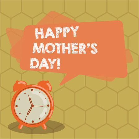 Conceptual hand writing showing Happy Mother S Is Day. Business photo text celebration honoring mums and celebrating motherhood Rectangular Speech Bubble Overlay and Analog Alarm Clock Banco de Imagens