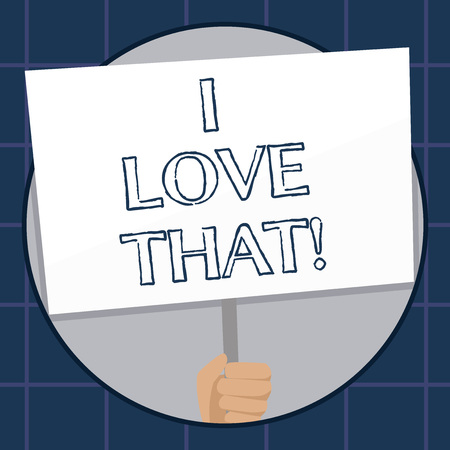 Conceptual hand writing showing I Love That. Business photo text Having affection for something or someone Roanalysistic feelings Stockfoto - 117870514