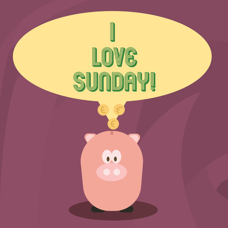 Word writing text I Love Sunday. Business concept for To have affection for the weekend happy excited relax