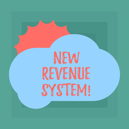 Conceptual hand writing showing New Revenue System. Business photo showcasing income business got from its activities usually sales Sun Hiding Behind Blank Fluffy Color Cloud for Poster Ads