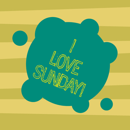 Text sign showing I Love Sunday. Conceptual photo To have affection for the weekend happy excited relax Blank Deformed Color Round Shape with Small Circles Abstract photo Banque d'images