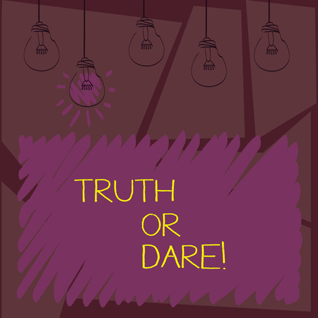 Writing note showingTruth Or Dare. Business photo showcasing Tell the actual facts or be willing to accept a challenge